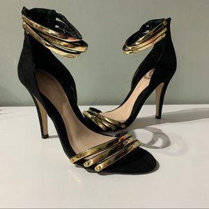 Aldo stilettos heels black gold straps ankle Zip